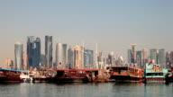 Dhow harbor and Doha skyline, Qatar video