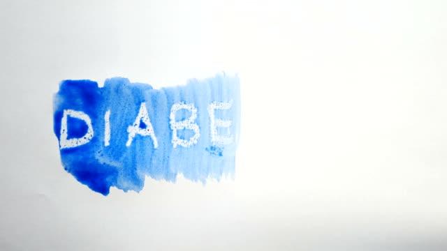 diabetes text inscription watercolor artist paints blot isolated on white background art video video