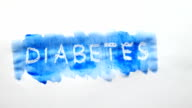 diabetes text inscription watercolor artist paints blot isolated on white background art video