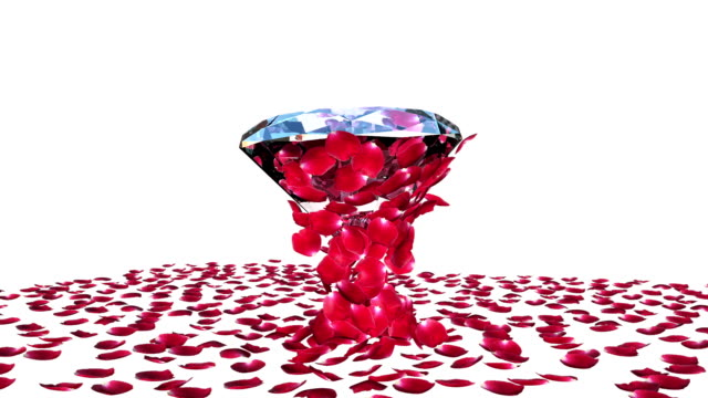 Diamond attracting rose petals, camera rotating, against white video
