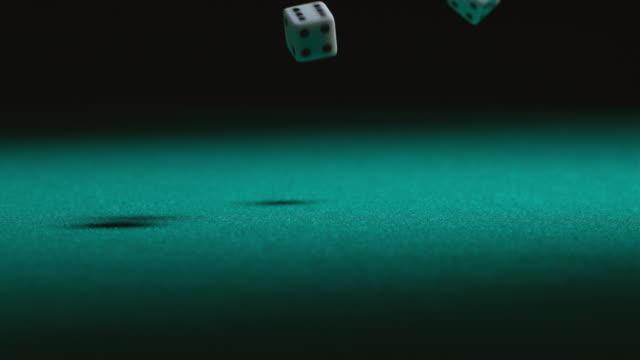 Dice falling in slow motion video