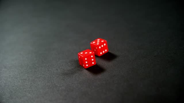 Dice on poker table 4k video