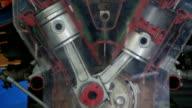 diesel engine work inside view video