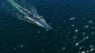 Diesel submarine in ocean. video