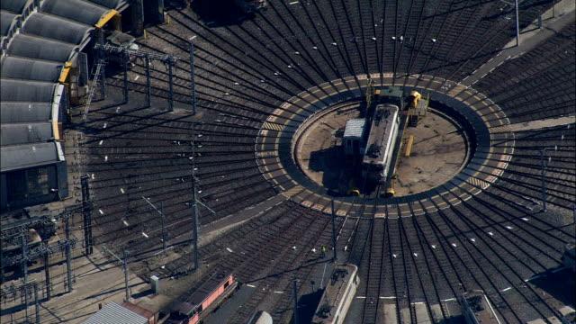 Diesel Train On Turntable  - Aerial View - Rhône-Alpes, Rhône, Arrondissement de Lyon, France video