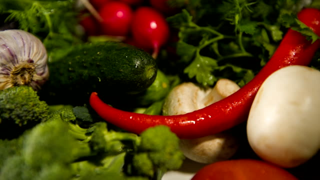 Different colorful raw vegetables video