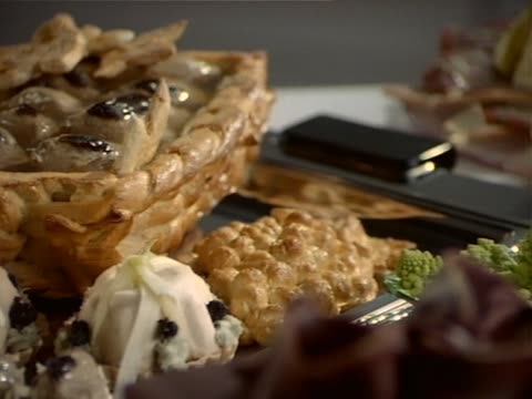 Different fresh desserts on table video
