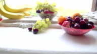 different Summer fruits on a window sill video