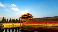 Different view to the back entrance of the Palace Museum at sunset, Beijing, China video