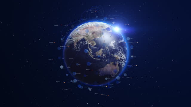 Digital blue earth orbiting with global network. video