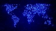 digital blue world map loop video