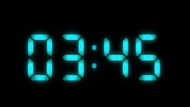Digital clock. 1 frame per minute. Loopable. Blue video