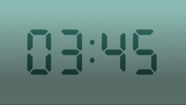 Digital clock. 1 frame per minute. Loopable. Gray. video