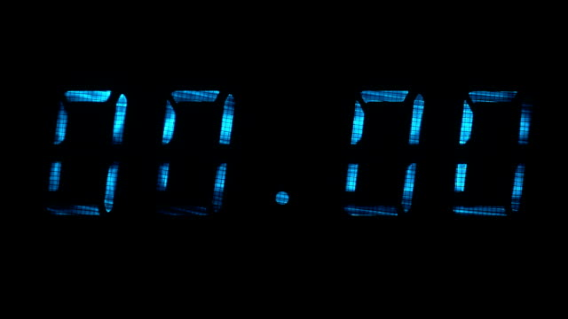Digital clock display shows time of 00 hours 00 minutes to 00 hours 01 minutes video