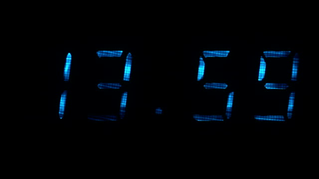 Digital clock shows the time of 13 hours 59 minutes to 14 hours 00 minutes video