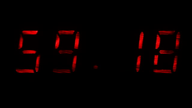 Digital clock shows the time of 59 minutes 10 seconds to 59 minutes 40 seconds video