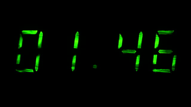 Digital clock shows time of 01 minutes 39 seconds to 02 minutes 09 seconds video