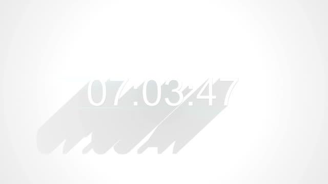 digital clock timer on white long shadows video