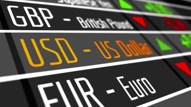 Digital display with currency exchange rates video