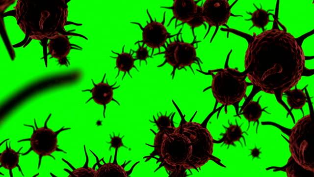 Digital generated virus cells flowing against green background video