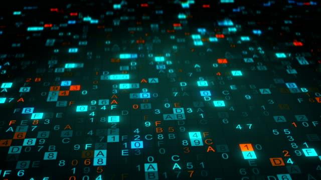 Digital hex code symbols on monitor seamless loop animation video