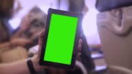 Digital tablet on a plane. Chromakey. video
