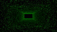 Digitally abstract dots panels in 3D rectangle tunnel as backgrounds video