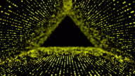 Digitally abstract dots panels in 3D triangle tunnel as backgrounds video