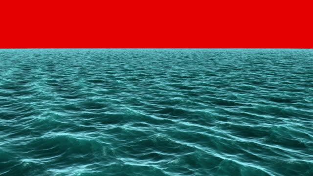 Digitally generated blue ocean moving video