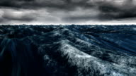 Digitally generated blue ocean swelling video