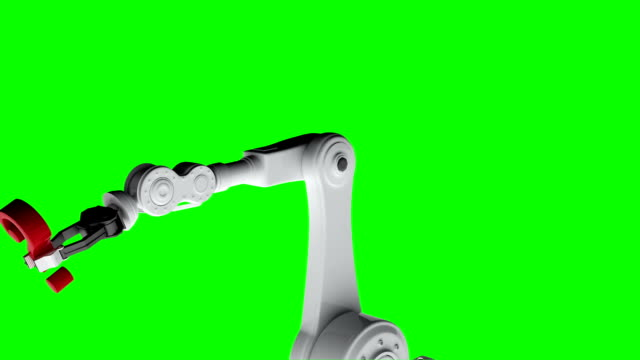 Digitally generated video of white robotic arm holding red question mark 3d video