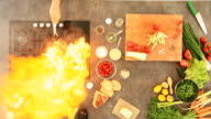 Directly above shot of man cooking with fire in the kitchen video