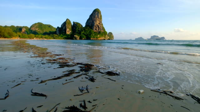 Dirty and environment pollution at Railay beach, Krabi, Thailand video