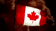Dirty Canadian flag on the wind full HD video