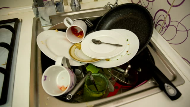 Dirty dishes in the sink video