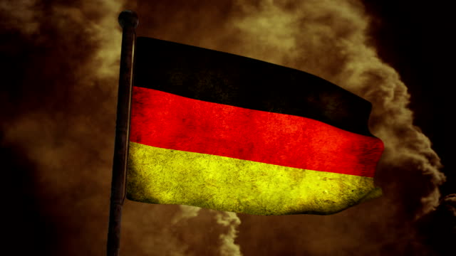 Dirty Germany flag on the wind full HD video
