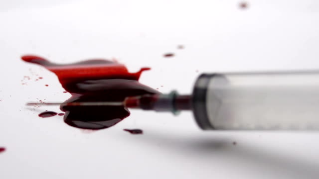 Dirty Syringe Falling Into Blood video