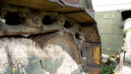 dirty track of old bulldozer at parking video