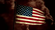 Dirty USA flag on the wind full HD video