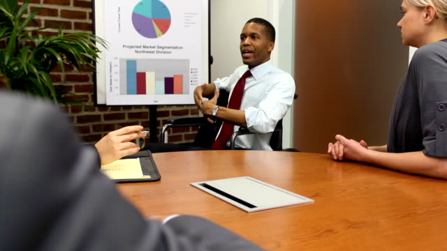 Disabled Businessman Makes Presentation - WS video
