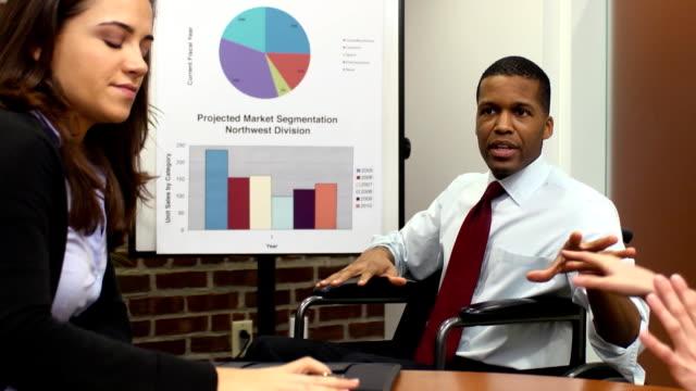 Disabled Businessman Makes Presentation - MS video