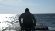 Disabled Man Leaves From The Pier video