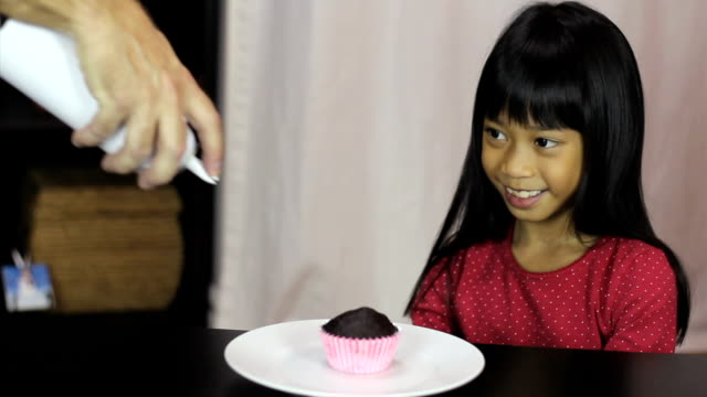 Disappointed Asian Girl Not Getting Whip Cream On Cupcake video