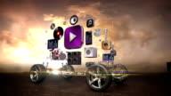 Disassembled car, Car audio video system, car entertainment, navigation panel, future car technology. sunset. video