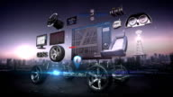 Disassembled car, Car infotainment system, car navigation panel, connect internet, future car technology. night time. video