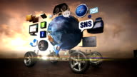 Disassembled car, Car infotainment system, network. car connect internet, social media service. future car technology. sunset. video