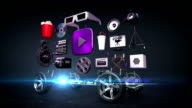 Disassembled car, Car video entertainment system, movie, drama,vod, future car technology. black background. video