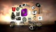 Disassembled car, Car video entertainment system, movie, drama,vod, future car technology. sunset. video