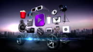 Disassembled car, Car video entertainment system, movie, drama,vod, future car technology. video