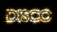 Disco logo text sparkling glitter gold silver video